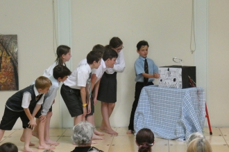 Pupils from Pendock Primary School performing Where the Meadows Flower play (by Stephanie Grainger)