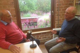 John Denham (left) interviewing Michael Liley about Hardwick Green Meadows