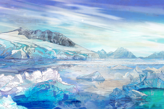 Antarctica landscape with icebergs, sea, pools and blue sky with clouds by Shelly Perkins