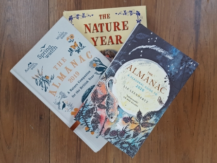Book covers of nature almanacs