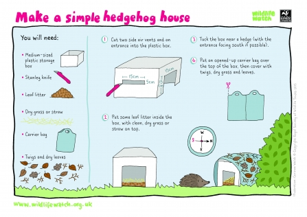 Instructions for how to make a hedgehog house
